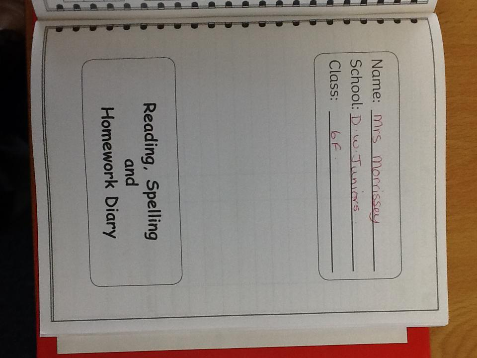 Reading, Spelling and Homework Diary – Donnington Wood