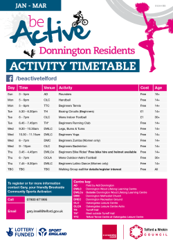 be active donnington timetable 2016